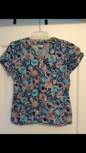 4 Patterned Scrub Tops- $15 for the lot