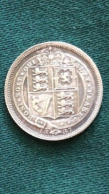 Queen Victoria 1887 Sixpence .925 Sterling Silver Excellent Coin