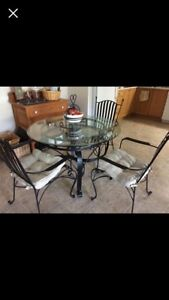 "Glass dining table 42"" with 3 chairs"