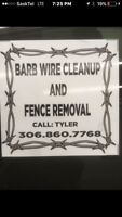 Barb wire fence removal