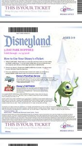 Disneyland/DCA 5 day park hopper tickets for 2 adults & 2 kids