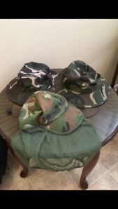 2 camo bucket hats and 1 SnapBack hat with mosquito netting