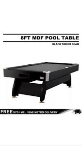 POOL TABLE -LUXURY 8FT MDF BILLIARD/POOL/SNOOKER TABLE- BLACK Princes Hill Melbourne City Preview