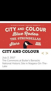 2 tickets : Blue rodeo, city and colour, the strumbellas