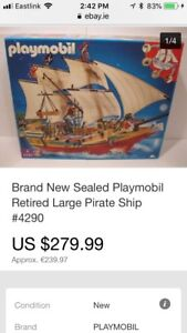 Large Playmobil Pirate Ship and Skull Island plus many extras!