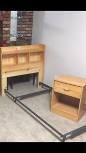 Single frame with headboard with nightstand for sale 75$
