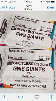 AFL tickets (2 adults)  Giants vs Calton 29/8/151:45pm Pymble Ku-ring-gai Area Preview