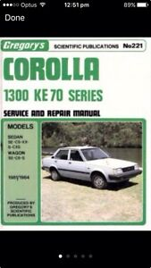 Corolla 1300 KE 70 Workshop Manual Carina Brisbane South East Preview