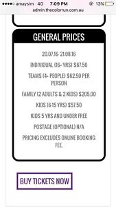 Colour run ticket ($10 cheaper than current price) Bexley Rockdale Area Preview