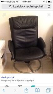 TWO IKEA black leather reclining chairs