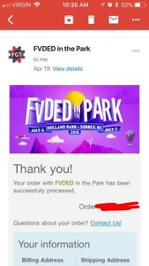 2 Fvded in the park VIP 2 day tickets