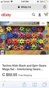 Techno Kids Stack And Spin Gears - 60 pieces