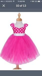 White and pink polka dot tulle dress
