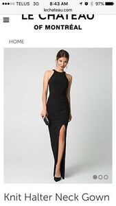 Black halter knit gown