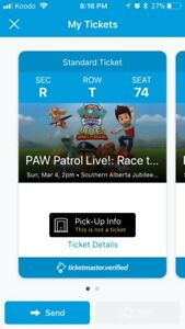 2 Tickets to Paw Patrol Live - Sunday, March 4th @ 2PM