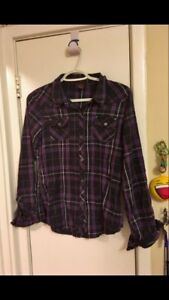 Girls button up long sleeved shirt. Size medium