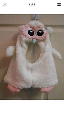 NWT Girl's OWL HAT One Size White Pink Great Costume Idea Halloween Play Prop