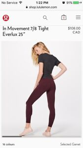 Lululemon Size 10 In Movement 7/8 Tights, Garnet Color, New