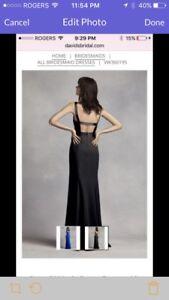 Vera wang bridesmaid dress with open back in horizon blue