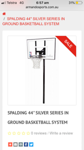 BASKETBALL SPALDING SILVER SERIES IN GROUND SYSTEM