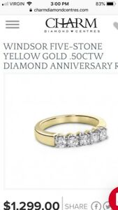 FURTHER REDUCED!!  WINDSOR FIVE-STONE YELLOW GOLD .50CTW RING
