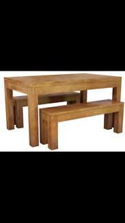 Block dining table and two benches Blacktown Blacktown Area Preview