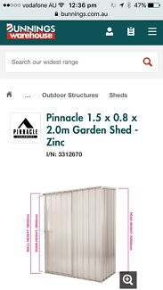 1.5m x 0.8m x 2.0m Zinc shed for sale - Brand new !!