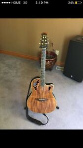 Ovation electric acoustic guitar koa wood finish