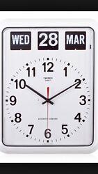 TWEMCO Quartz Retro Modern Germany Movement Calendar Flip Wall Clock BQ12 White