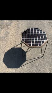 Hairpin metal leg ceramic tile octagonal vintage patio table