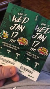2 tickets for tonight's Mooseheads vs Wild Cats game