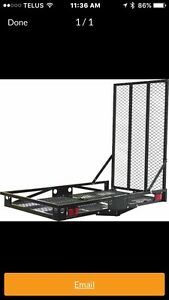 Steel hitch cargo carrier with ramp