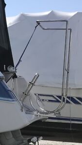 Stainless steel dingy rack for boat.