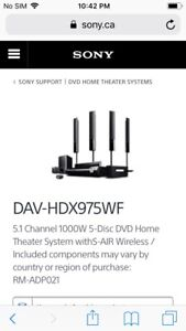 Sony DVD/ Home Theatre System
