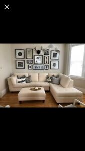 Large Cream Sectional w/ Ottoman