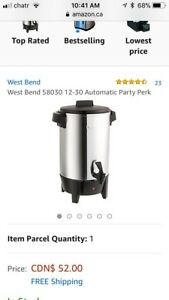 West bend perculator hot water 30 42 cup