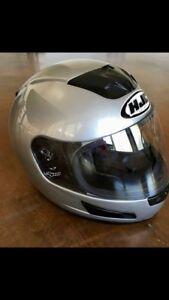HJC silver full face motorcycle helmet - size xs