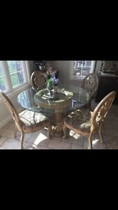 Unique Dining Set 4 chairs, glass top.