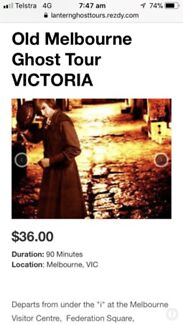 Old Melbourne Ghost Tour Tickets - for two