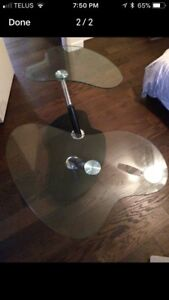 Designer rotating glass coffee table