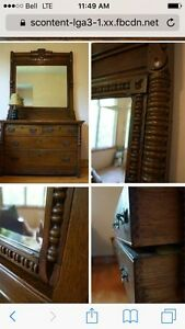 Vintage 5 Drawer Dresser with Beveled Mirror