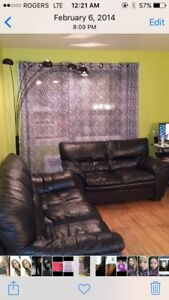 3 piece real leather couch set