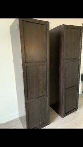 Two Ikea Pax wardrobes/closets with doors and shelves