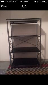 Glass and metal shelf or tv stand
