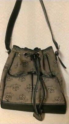 Authentic DOONEY & BOURKE CREST PRINT DRAWSTRING TOTE HANDBAG, Used (Print Drawstring Tote Handbag)