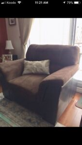 Deep brown couch and armchair set