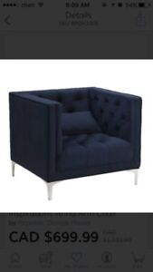Blue tufted sofa arm chair