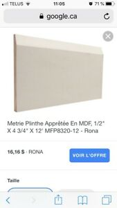 "Plinthes/ moulures MDF 4 3/4"" X 12'"