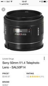 Sony SAl5014 50mm prime with F1.4  open aperture