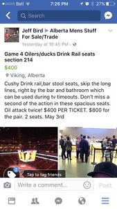 Oilers Ducks game 4 round 2, section 214 drink rail
